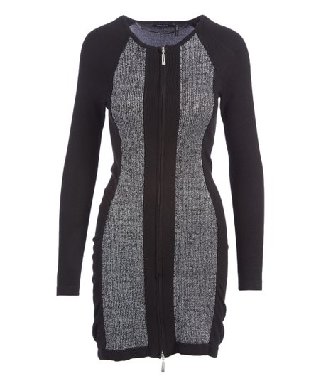 Selection Gray Black Color Block Panel Zip Up Bodycon Dress