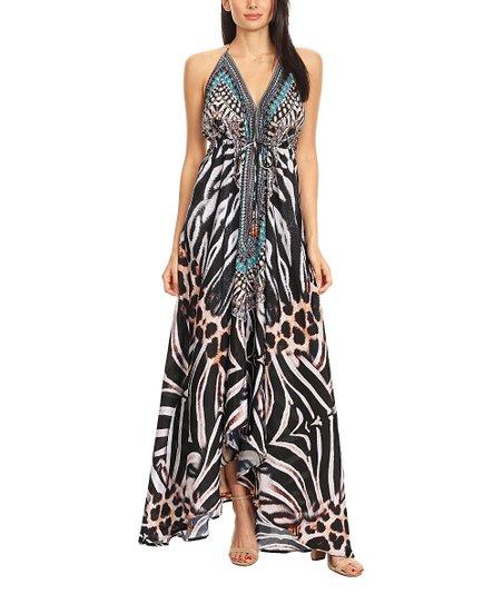 love this product Black   White Animal Print Open-Back Maxi Halter Dress 9ef2ce0cb