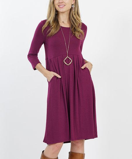 a22e4d908c5 love this product Plum Three-Quarter Sleeve Pleated Two-Pocket Tunic Dress  - Plus