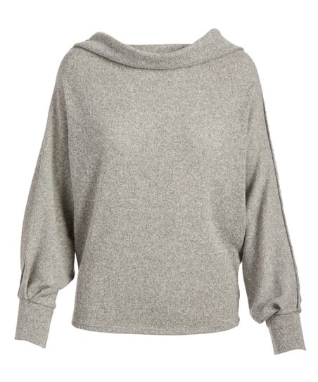 5d9e0115d8543 Millibon Gray Cowl Neck Dolman-Sleeve Top - Women