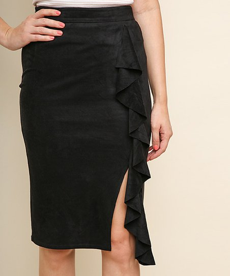 cd3255b6c780 love this product Black High-Waist Ruffle-Accent Slit Faux-Suede Midi Skirt  - Women
