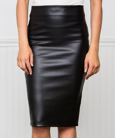 Black Faux Leather Pencil Skirt   Women by Zulily