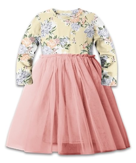 f2352de857 love this product Cream & Coral Floral Long-Sleeve A-Line Dress - Girls