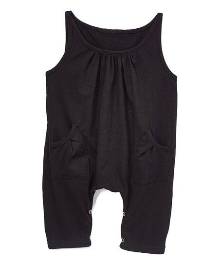 wind + thistle Black Gathered Tank Pocket Romper - Infant   Toddler ... 49d266692bdf