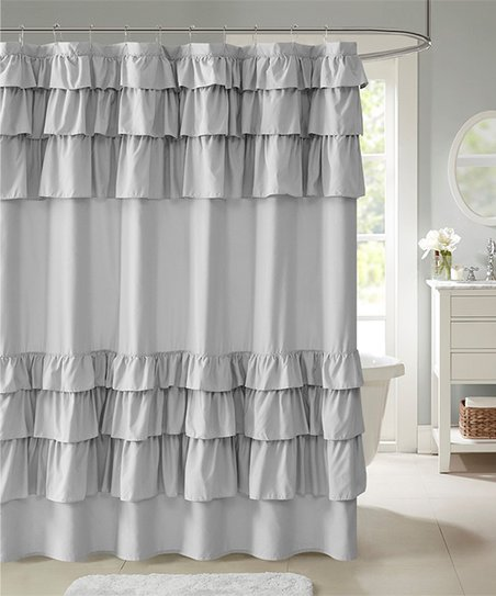 Gray Ruffle Shower Curtain
