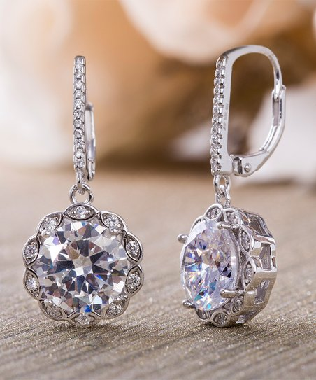 Cubic Zirconia Sterling Silver Halo Round Drop Earrings