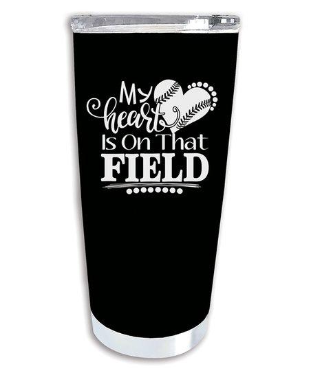 707115e805e love this product 20-Oz. Black & White 'Heart on That Field' Baseball  Travel Mug