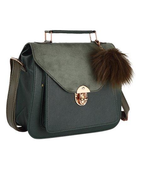 ca5f79a6c5 Chicago Polo Green Faux Fur Pom-Pom Crossbody Bag