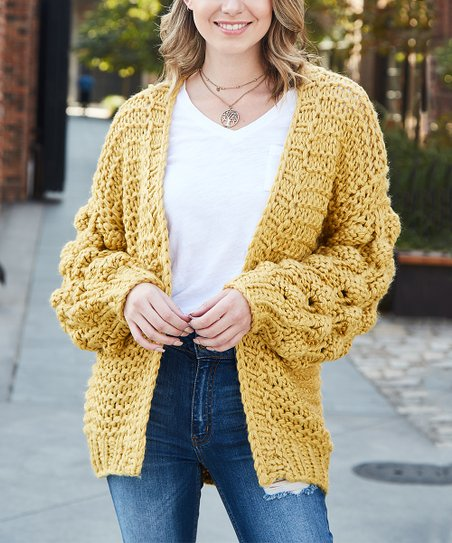 363147542c love this product Mustard Pom-Pom Sleeve Chunky Hand-Knit Cardigan - Women