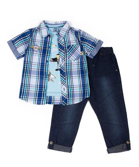72284ebbb Little Lad Blue Plaid Button-Up Shirt Set - Infant   Toddler
