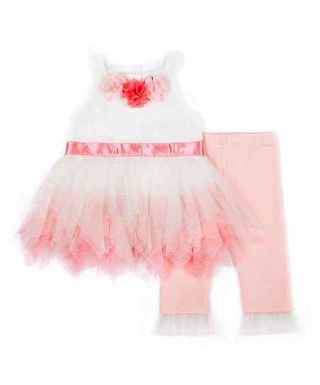 22b50f3f5 Nicole Miller White   Pink Ruffle Accent A-Line Dress   Leggings ...