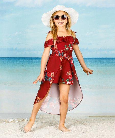 46098f3c6bc9 love this product Burgundy Floral Ruffle Hi-Low Walk-Through Maxi Dress -  Toddler & Girls