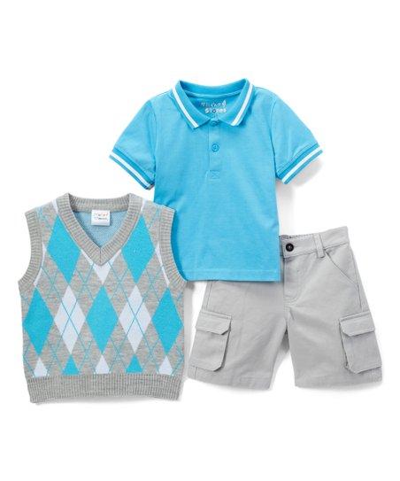 f4a02789c Sticks   Stones Blue   Gray Argyle Sweater Vest Set - Infant ...
