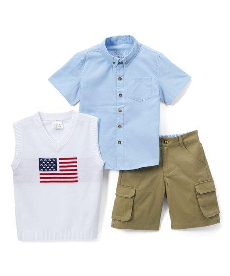 195c98896 Sticks   Stones White American Flag Sweater Vest Set - Infant ...