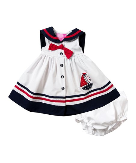 0662eb3b3c6a9 love this product White & Navy Nautical A-Line Dress - Infant