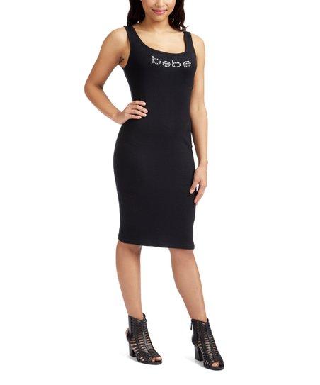 be95260d412 bebe Jet Black Logo Tank Bodycon Dress - Women | Zulily