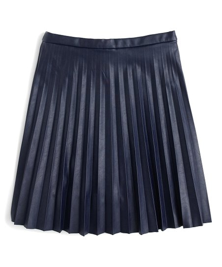51db644d42e5 love this product Navy Pleated Faux Leather Mini Skirt - Women