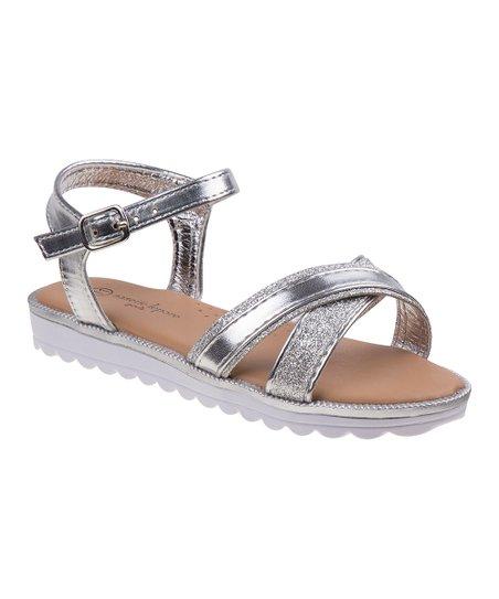 18e883bdb6e Nanette Lepore Girls Silver Glitter Platform Sandal - Girls