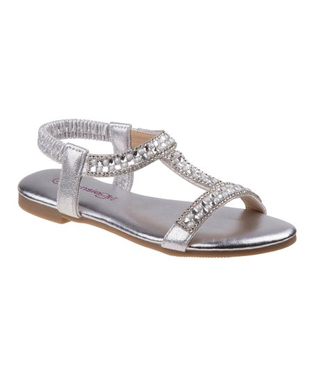 3027c1291 love this product Silver Shine T-Strap Sandal - Girls