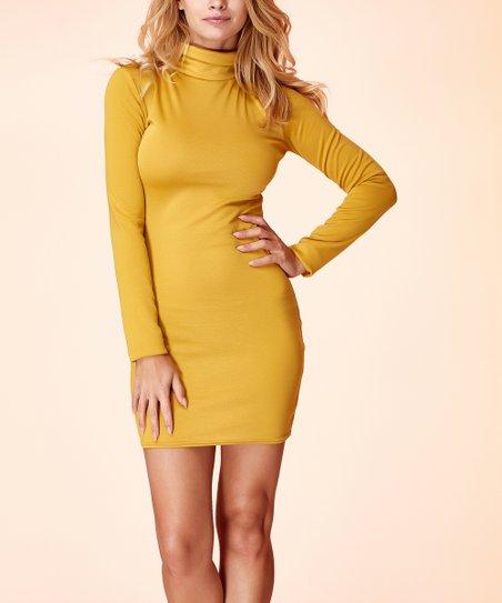 101e0e2e9d3 love this product Mustard Turtleneck Mini Dress - Women