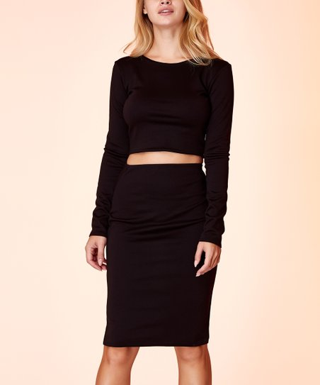 a9701699bd love this product Black Long-Sleeve Crop Top & Pencil Skirt - Women