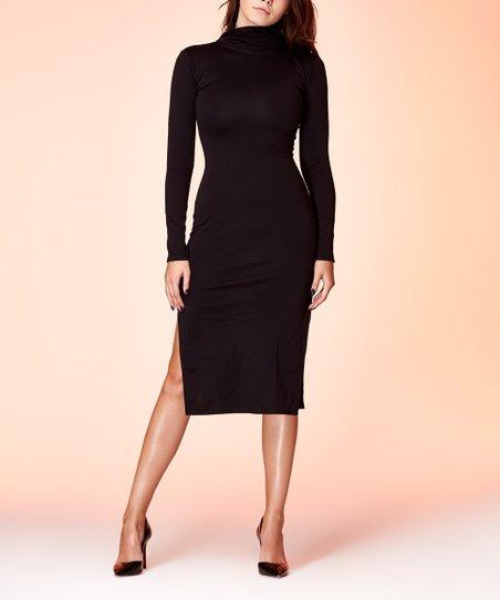 Amori Black Side-Slit Turtleneck Bodycon Dress - Women  f9bc631aff