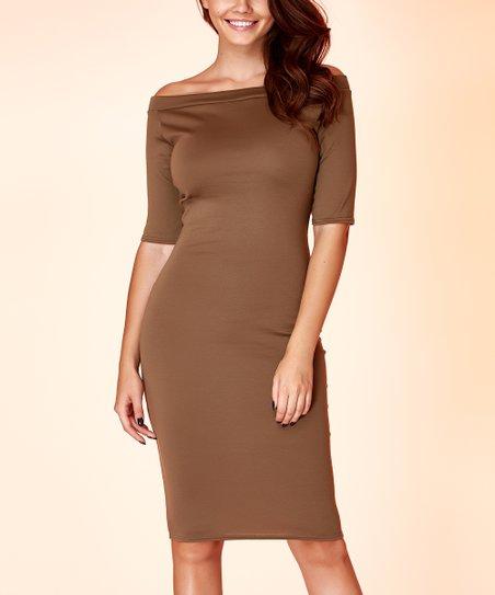 980d4d7099cd love this product Khaki Three-Quarter Sleeve Off-Shoulder Dress - Women