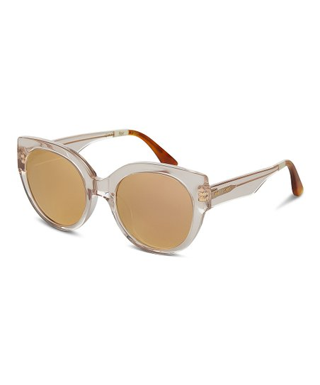 af3408e753caa love this product Luisa Champagne Cry Rose Mirror Oversize Sunglasses
