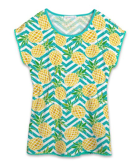 30ece8f0329a love this product Turquoise Chevron Pineapple Cover-Up T-Shirt Dress -  Toddler   Girls