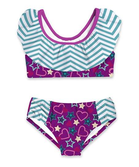 e860f5be55691 love this product Purple & Green Chevron Ruffle-Collar Bikini - Toddler &  Girls