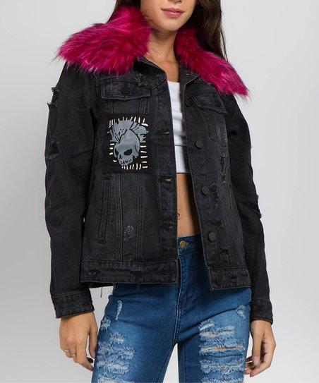 American Bazi Black Pink Distressed Skull Faux Fur Denim Jacket