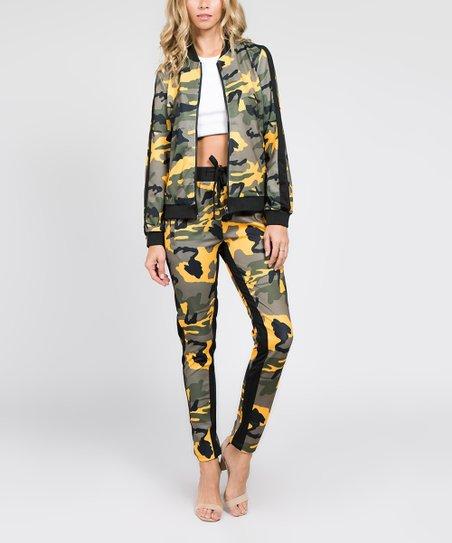 e395b523fe266 American Bazi Yellow Camo Stripe Track Jacket & Pants - Women | Zulily