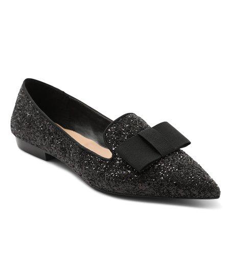 3bcf109602 kensie Black Glitter Madeleine Ballet Flat - Women | Zulily