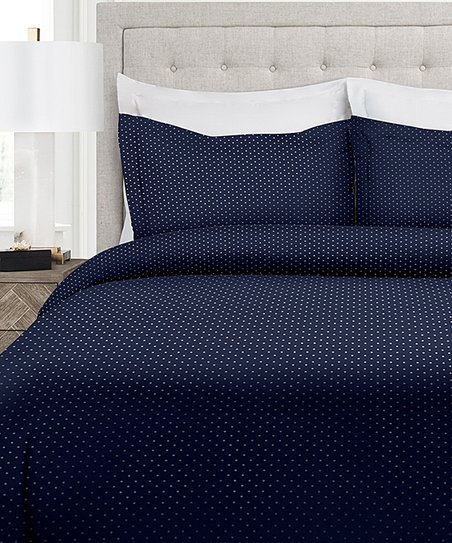 Park Hotel Navy White Italian Luxury Pin Dot Zip Up Duvet Cover