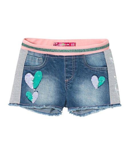 5cba33d604 Desigual Blue & Gray Sequin Hearts Denim Shorts - Girls | Zulily