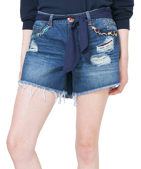 57825e66c6 love this product Medium Blue Embellished Denim Shorts - Women & Plus