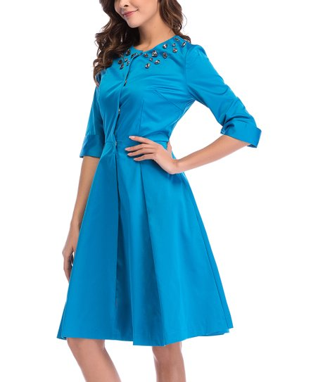 553b657b8ee love this product Sky Blue Embellished A-Line Dress - Women   Juniors