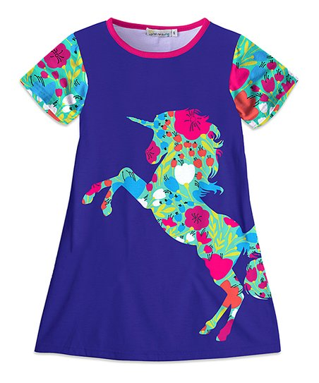 3e0472833 love this product Navy & Turquoise Floral Unicorn Shift Dress - Toddler &  Girls