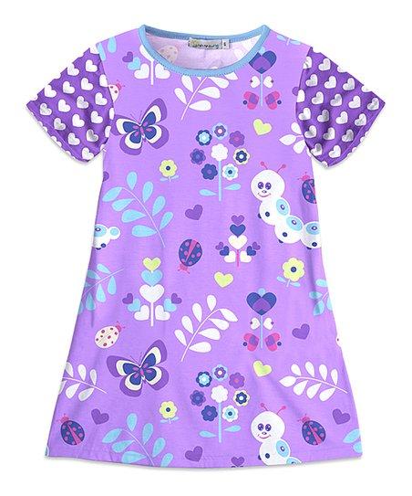 f2d4c8204b443f Sunshine Swing Lavender Floral Butterfly Shift Dress - Toddler ...