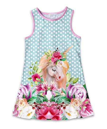 535e5ce465cda love this product Turquoise & Pink Floral Unicorn Polka Dot Sleeveless  A-Line Dress - Toddler & Girls