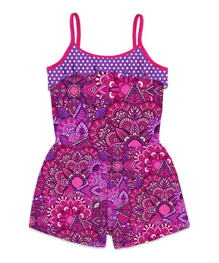 c21a5b10c244 Sunshine Swing Fuchsia   Purple Geometric Floral Ruffle Sally Romper ...