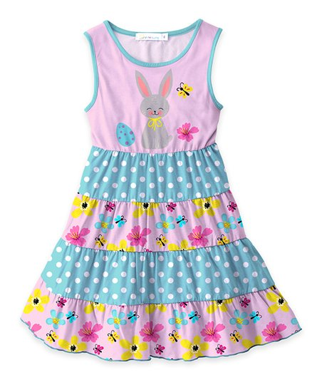 6c61c63b14 love this product Pink   Turquoise Bunny Floral Tiered Sleeveless Dress -  Toddler   Girls