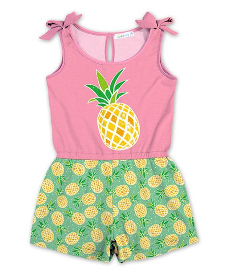 305695964 love this product Pink & Green Pineapple Bow-Sleeve Romper - Toddler & Girls