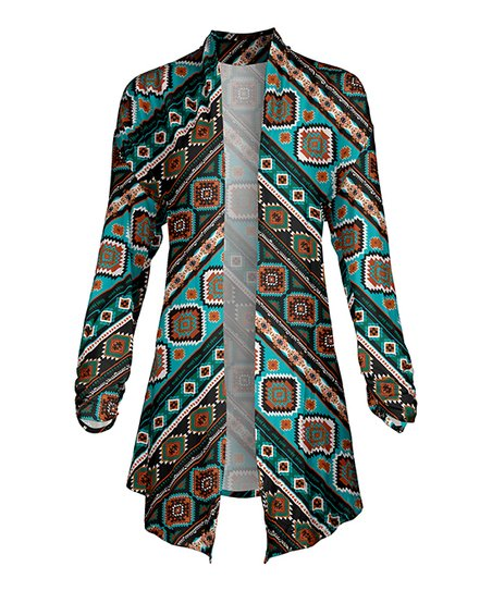 d582c6f0a2e love this product Turquoise   Rust Geometric Long-Sleeve Open Cardigan -  Women   Plus