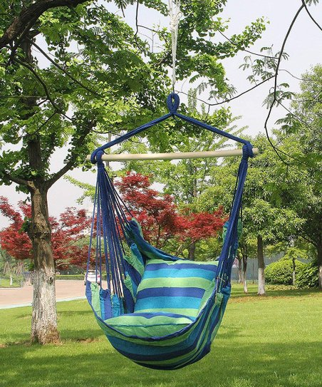 Sorbus Blue Hanging Rope Hammock Chair Zulily