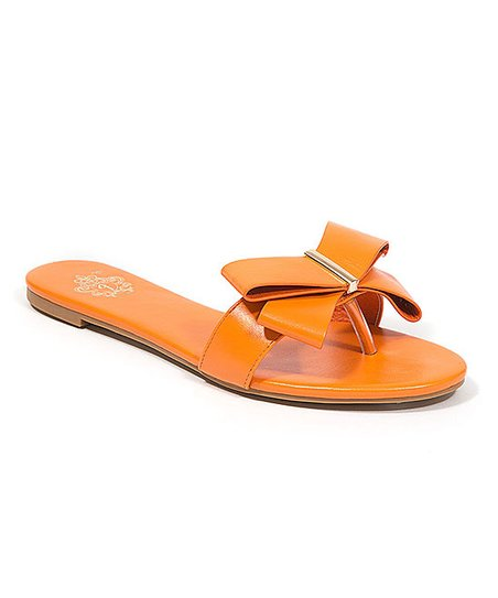 ebfc66a2f love this product Orange Bow-Accent Bow To The Queen Sandal - Women