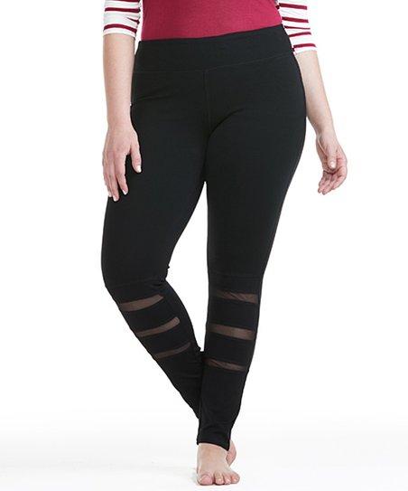 82a460f42768b love this product Black Mesh-Stripe Legging - Plus
