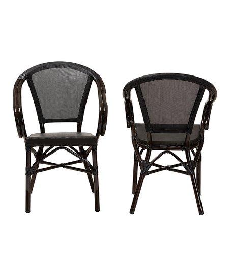 Baxton Studio Black Stackable Outdoor Bistro Chair Set