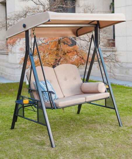 Patio Festival Beige Outdoor Three Seater Swing Chair Zulily