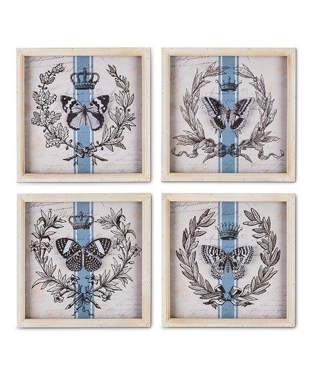 Blue & White Butterfly Wall Art | Zulily
